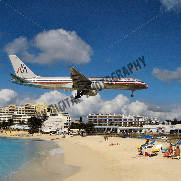 American Airlines Landing Beach View - JW Digital Photography