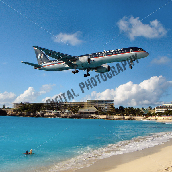 US Airways over the water - JW Digital Photography